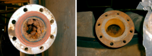 Fouling before pipe cleaning and after pipe cleaning